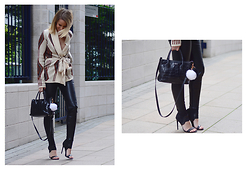 L M - Furla Croc Bag, &Otherstories Scuba Sandal Booties, Sheinside Tie Waist Cardigan - Knit and leather