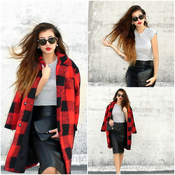 Venetia Kamara - Yoins Coat, Yoins Leather Skirt, Giant Vintage Sunglasses - Red & Leather