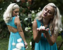Theano Lazaridou - Sheinside Blue Dress, Happiness Boutique Necklace - Like a Princess!