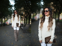 Maria Vizuete - Zara Ivory Turtleneck, Topshop White Jeans, Steve Madden Over The Knee Boots - Over-The-Knee.