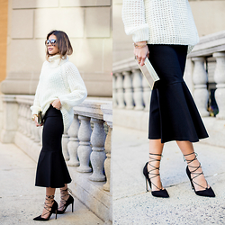 Pam Hetlinger - The Fifth White Jumper, Asos Lace Up Pumps - Fit and Flare