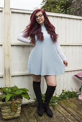 Olivia Lynn - Topshop High Neck Swing Tunic, Topshop Long Sleeve Crop, Ebay Otk Boots - High Neck Swing