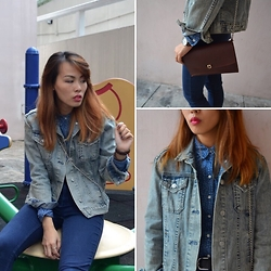 Joyce Tse - Topshop Denim Jacket, H&M Denim Shirt - Denim on Denim
