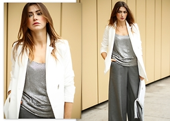 Yoschimoto - H&M Wide Leg Trousers, Nife White Jacket, Vero Moda Sequin Top, Milate Fringed Bag - SEQUINS AND WHITE JACKET