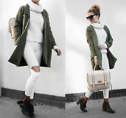 Endzel - Coat, Boots, Turtleneck, Sunglasses, Newlook Backbag, Pants - Army Green