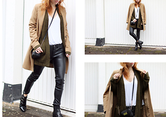 Patty . - United Colors Of Benetton Coat, H&M Faux Leather Pants, Asos Boots - HEADLESS