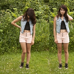 Emily Perkovich - Old Navy Denim Vest, Nasty Gal Lace Bustier, Delias High Waisted Blush Denim Shorts, Forever 21 Floral Print High Tops - 06192014