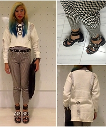 Monica Seet - Yhs Shredded Sweater, H&M Geometric Pants, H&M Fringe Clutch, H&M Bib Necklace, Jeffrey Campbell Mynt - Shredder