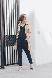 Hannah N - Forever21 Trench, Urban Outfitters Vneck, Zara Pleated Pants - Two Three Four