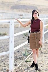 Olivia Yuen - Topshop Necklace, Zara Top, Forever 21 Belt, Zara Skirt, Zara Bag, Steve Madden Boots - Terrain Sunrise