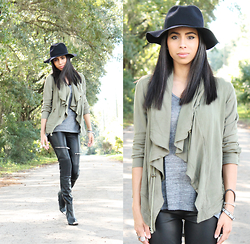 Karla Quinones - Forever21 Hat, Billabong On The Horizon Jacket, Zara Faux Leather Biker Trousers, H&M Pointed Booties - Fall Vibes