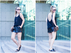 Jenaly Enns - American Apparel Low Back Tank, Louis Vuitton Favorite Mm, Aritzia Leather Shorts - Looking Back