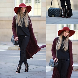 Louise Xin - Lindex Burgundy Hat, Ego Lace Up Heels, Lindex Burgundy Cardigan, Mango Top - Burgundy