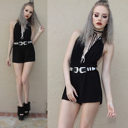Kirsten Vogel - The Lair Deluxe Hendrix Belt, Brandy Melville Usa Romper, Yru Faux Fo Sho, Wren & Glory Antler Necklace - Lair of Lies