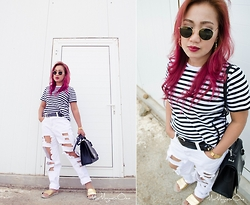 Ojie Papalli - Ray Ban Sunnies, Mark And Spencer Thrifted Shirt, Boohoo Distressed Jeans, Debenhams Bag - Minimal Stripes