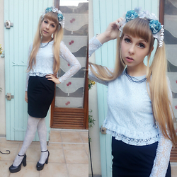 Anastassia Wonderland - Li Paro Headdress, H&M Blue Lace Croptop, H&M Black Pencil Skirt, Grimoire Blue Tights, Aliexpress Black Heels - Blue lace and flowers are the recipe to look like a doll