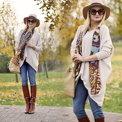Daria Darenia - Oasap Hat, Vintage Scarf, Frontrowshop Sweater, Guess Jeans, Bally Boot, Barada Bag, Pandora Yewellery - Colors of Autumn