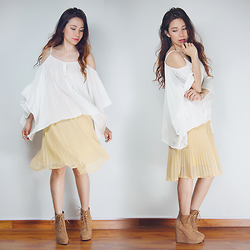 Shai Lagarde - Forever 21 Off Shoulder Flowy Top, Sm Woman Pleated Midi Skirt, Forever 21 Platform Wedge Booties - Bare Flair