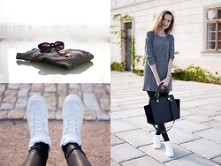 Lorietta.cz - H&M White Faux Leather Sneakers, Chic Wish Long Grey Sweater - Long Grey Sweater