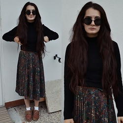 Anna Garavello - Pimkie Round Glasses, Just Woman High Neckline Top, Thrifted Skirt, Thrifted Shoes, Zara Brown Belt, H&M White Socks - Dark Boheme, Witchy Mood