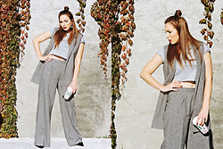 Daniela Macsim - Asos Crop T Shirt, Custom Made Pant Suit - That's what I call a grey situation