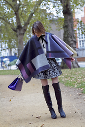 Ella Catliff - Burberry Poncho, Ted & Muffy Boots, Maje Blouse, Alice + Olivia Skirt - Boots, Bows & Ponchos