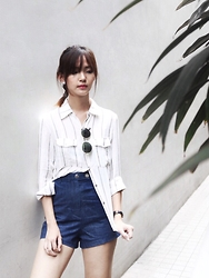 Brenda N. - Mdscollections Striped Top, Mdscollections Denim Shorts, Forever 21 Gold Rimmed Sunglasses - Stripes and Leaves