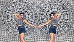 SV - H&M Tribal Print Crop Top, Urban Outfitters High Waisted Denim Shorts - Tschumi