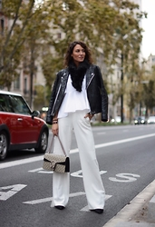 Isabella Pozzi - Acne Studios Patchwork Leather Jacket, Gucci Dionysus Bag, Zara Wide Trousers - Winter white