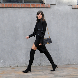 NILL N - Zara Over The Knee Boots, Chanel Bag, L'atelier Cache Jacket - The Dark Side..