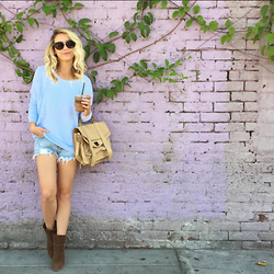 Jessica Snyder - Mint By Jessica Snyder Flowy Waffle Longsleeve, Proenza Schouler Messenger, Matisse Brown Suede Bootie, Unif High Waisted Cut Off, Celine Sunnies - Pretty Pastels.
