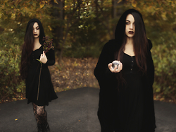 Ghost Siren - Crossfox Augusta Hoodie Dress, Barneys New York Cape, Moon Raven Designs Wolf Pendant - The Seventh Oracle