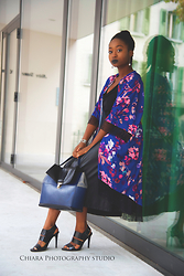 SGTURNINGPOINT.COM - Asos Deep Blue Leather Handbag, Zara Strappy Heels, Kimono, Ovs Leather Midi Skirt - How To Layer