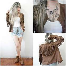 Thais Chung - Shop Tk Fringed Jacket, Asos Basic Top, Aliexpress Destroyed High Waist Shorts, Asos Brown Boots - WILD AT HEART  ❤