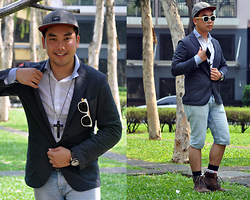 Vergil Lloyd Chua - Uniqlo Grey Jacket Cardigan, Topman White Button Down Shirt, Fossil Time Keeper, We Are Six Degrees White Bamboo Sunglasses, Topman Denim Shorts, Topman Brown Leather Boots, Topman Black Cross Necklace - Jeremiah 29:11