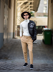 Cedric - Asos Panama, River Island Jumper, Asos Suit Trousers, Kenzo Sneakers, Plùs Que Ma Vie Biker Jacket - PARIS FASHION WEEK STREETSTYLE