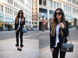 Maria Vizuete - Topshop Blazer, Chanel 2.55 Bag, Topshop Black Jeans - NEUTRALS TIED WITH A BOW.