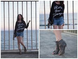 Lisa Valerie Morgan - Abercrombie & Fitch Denim Shorts, Milly Bag, L.A.M.B. By Gwen Stefani Booties - What's Your Damage?