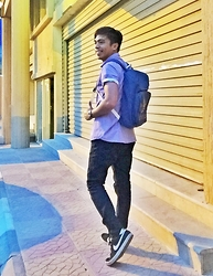 Ahmad Talon - Nike Sneakers, Topman Skinny Jeans, Adidas Backpack, Topman Contrast Shirt - After a day of hardwork