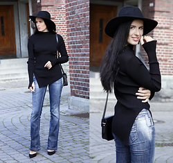 The Day Dreamings - Zara Shirt, Floral Punk Hat, Miss Sixty Jeans, Zara Heels, Mango Crossbody Bag - Classy with hat