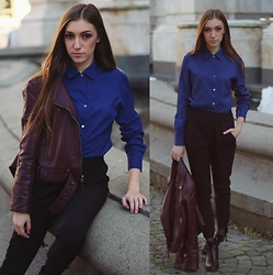 Andreea Miclăuş - Romwe Leather Jacket, Bershka Striped Pants, H&M Leather Boots - Burgundy dreams above a dark blue sky