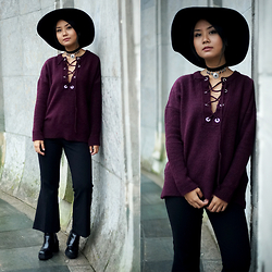 May B. - Weekday Crop Flare Pants, Primark Lace Up Knit Sweater - LACE UP KNIT | OHMAYGOD.com