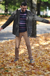 Hector Diaz - H&M Olive Green Jacket (Similar), American Eagle Outfitters Wool Sweater (Similar), Club Monaco Corduroy Pant, Creative Recreation Sneakers - Autumn Daze