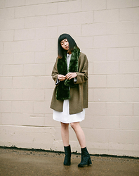 Alyssa Lau - Priory Olive Green Ura Coat, Priory Sleep Shirt Dress - Touch The Sky