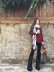 Emma Lee - Zara Scarf, Byer California Fit And Flare Pant, Goyard Tote Bag, Anthropologie Turtle Neck Jersey Top - Fit and flare obsession