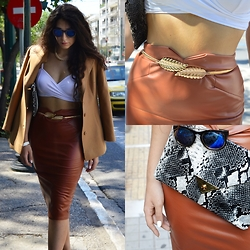 Marina Mavromati - Newdress Camel Leather Skirt, Newdress White Crop Top, Cndirect Gold Metallic Belt, Cndirect Envelop Bag, Dressin Sunglasses - Falling For The City!