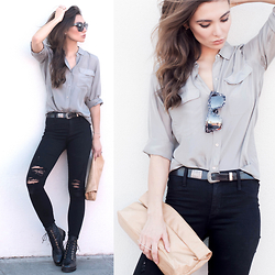 Tienlyn . - Sunglasses, Marie Turnor Clutch, Ron White Quilted Boots, James Jeans Ripped, Everlane Silk Shirt - EVERY DAY LUXE
