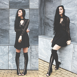 CLAUDIA Holynights - Sheinside Lace Dress, Ego Lace Up Over The Knee Boots - Lace dress and lace up boots.