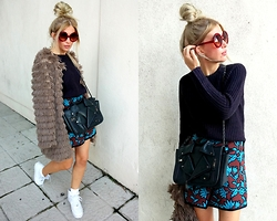 Joanna L - Bershka Sweater, Topshop Skirt, Boohoo Fur - Plum tea