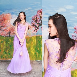 Ren Rong - Cndirect Lilac Lace Dress - Lilac Spring Blooms